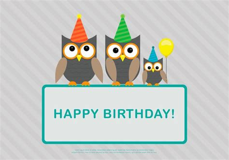 owl birthday card template happy birthday vectors free vector graphics everypixel