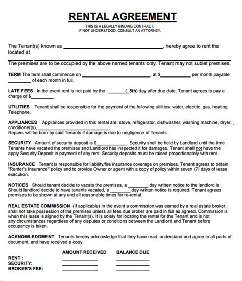 rental property agreement template property management agreement 8 free documents