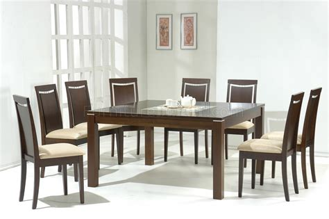 walnut modern dining table w glass inlay optional