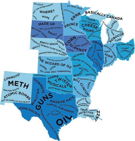 map of us what states are known for the stereotype map of every u s state according to