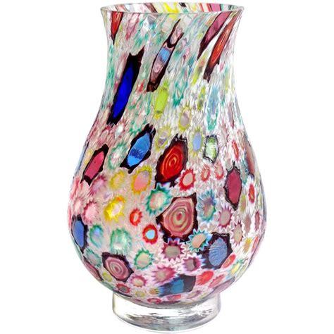 murano millefiori vase fratelli toso murano millefiori flower mosaic italian