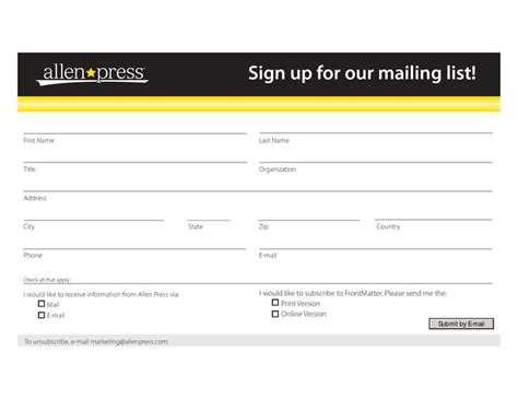 mailing list sign up template mailing list form template sign up for our mailing list