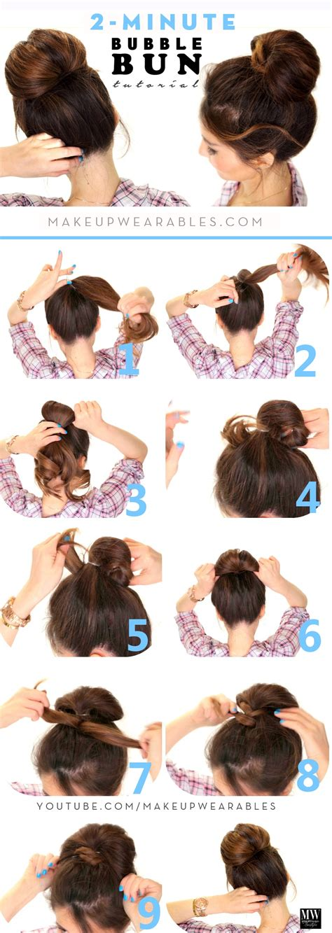 easy to make bun hairstyles 2 minute bubble bun hairstyle easy second day hair