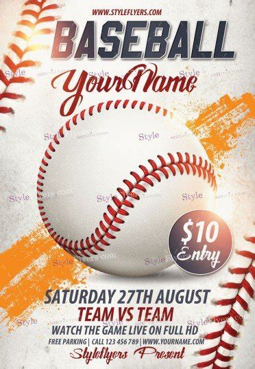 Baseball Psd Flyer Template 9857 Styleflyers Baseball Flyer Template