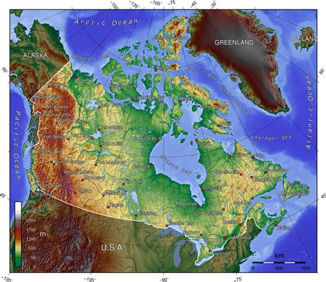 elevation map of usa and canada elevation map of canada 1400x1211 mapporn