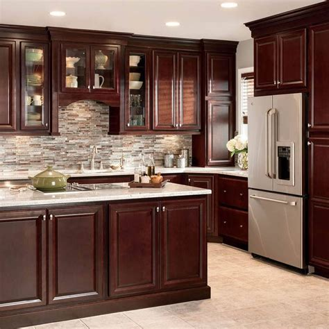 cherry wood kitchen cabinets lowes shop shenandoah bluemont 13 in x 14 5 in bordeaux cherry