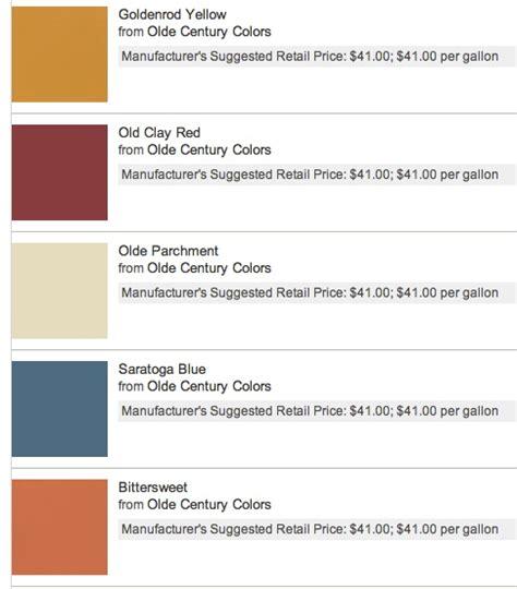 color paint chips olde century colors