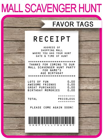 mall scavenger hunt favor tags receipt tags thank you tags