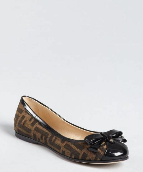 fendi flat shoes fendi tobacco zucca canvas cap toe bow ballet flats in