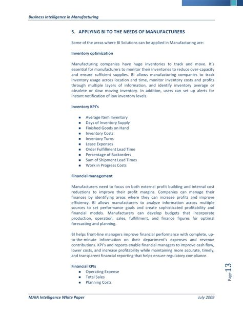 business intelligence research paper business intelligence bi for manufacturing a white paper