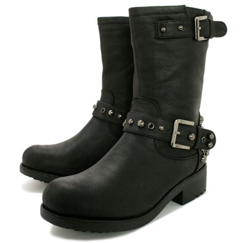 buy flat stud biker ankle boots black leather style