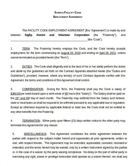 employment agreement contract employment agreement template 9 free sle exle