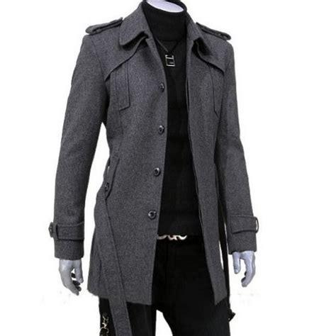 Denim Jaket Black Pria Cowok mode pria lengan panjang lapel belt gray jaket jaket lambang