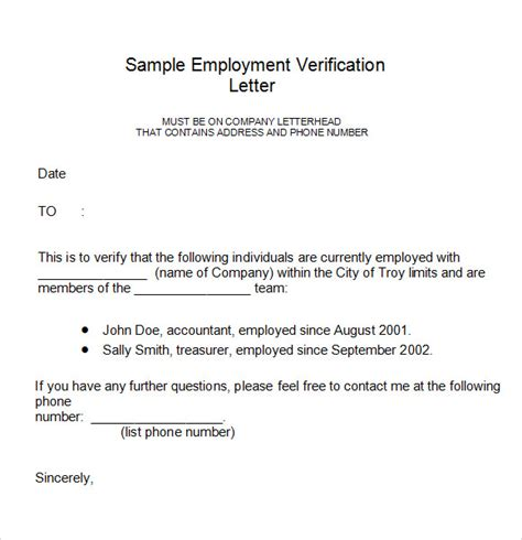 Employment Verification Letter Exle Employment Verification Letter 14 Free Documents In Pdf Word