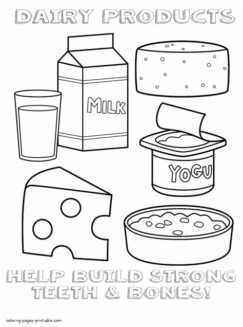 milk and food coloring healthy food colouring pages dairy products
