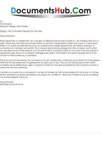fee concession letter for one year by student