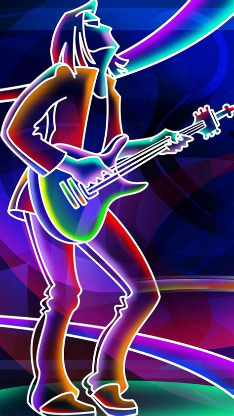 glitter wallpaper stirling neon lights glow rock n roll guitar player music iphone