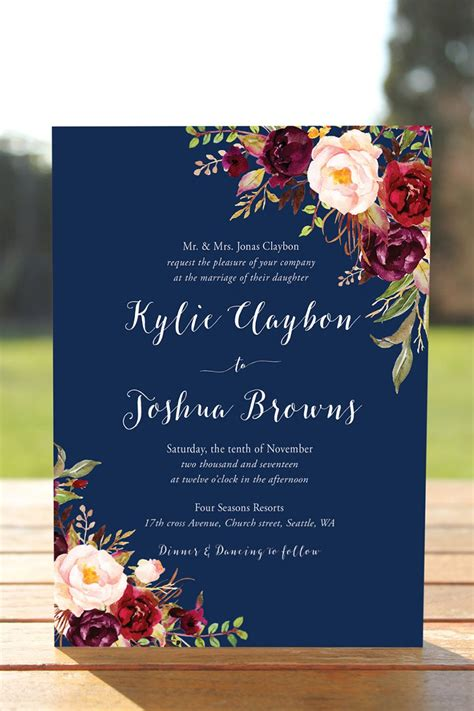 Burgundy And Navy Wedding Invitations