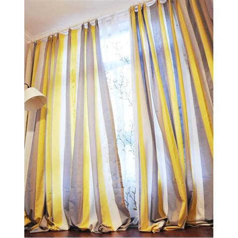 striped yellow curtains yellow and coffee striped linen brief blackout curtains
