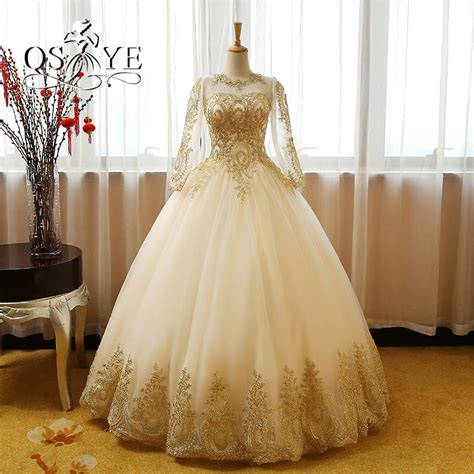 gold lace appliques long sleeves white tulle ball gowns wedding dress chagne gold wedding dress pro deal hunters