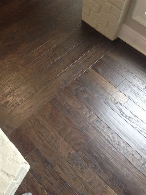 Patterned Wood With A Direction Change Transition Floors