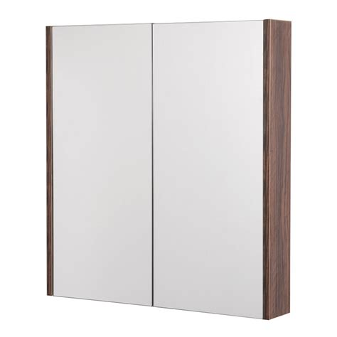 walnut bathroom mirror aspen 2 door walnut mirror cabinet 650 h 600 w 100 p
