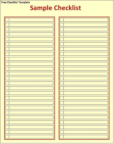Templates Free 2012 by Checklist Template Free Word Templates