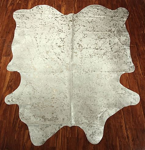 White Hide Rug White Silver Metallic Cow Hide Eclectic Rugs By