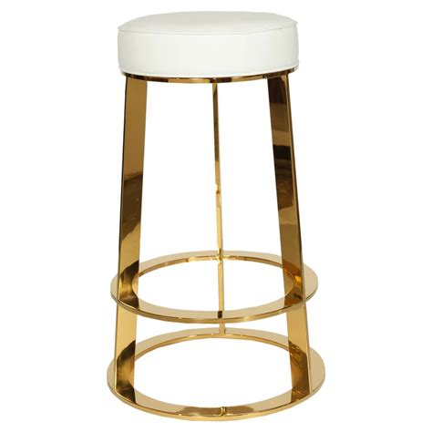 Modern Leather Counter Stools by Damaris Modern Brass White Leather Counter Stool Kathy