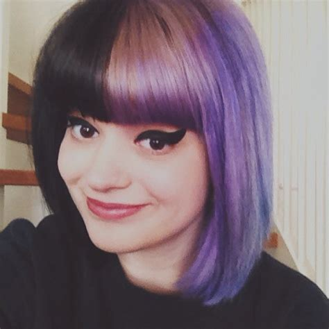 two tone hair black and lavender hair colors ideas