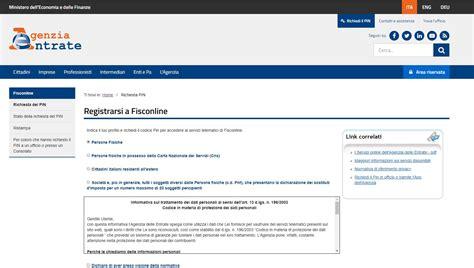 richiesta pin cassetto fiscale registrazione al sito agenzia delle entrate cassetto