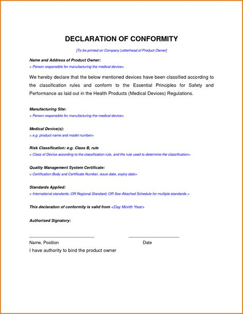 letter of conformance template certificate of conformance templatereference letters words