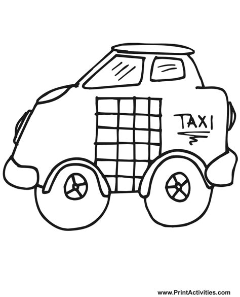 taxi coloring page cartoonish cab