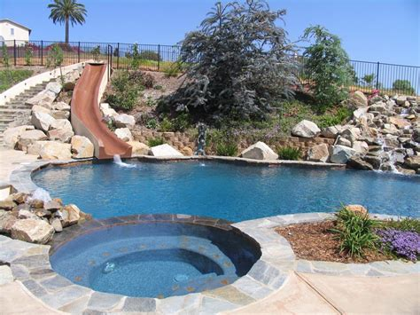 backyard pool water slides backyard swimming pools with slides photos pixelmari com