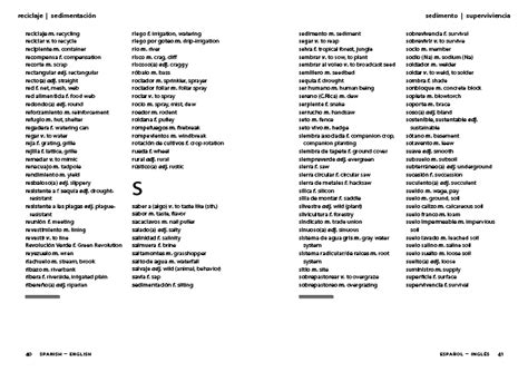 section in spanish alphabetized section of the field glossary spanish