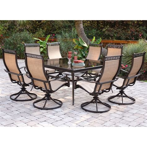 monaco 9pc dining set with 8 swivel rockers and a 60 in