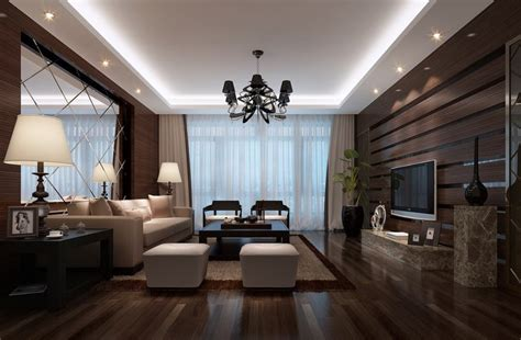 livingroom com wooden walls designed for luxury living room 3d house
