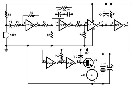 ceramic capacitor whistle whistle responder circuit diagrams schematics electronic projects