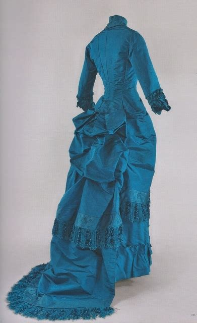 Bj 1880 Blue Sleeveless Dress afternoon dress around 1880 1881 blue silk fringe trim