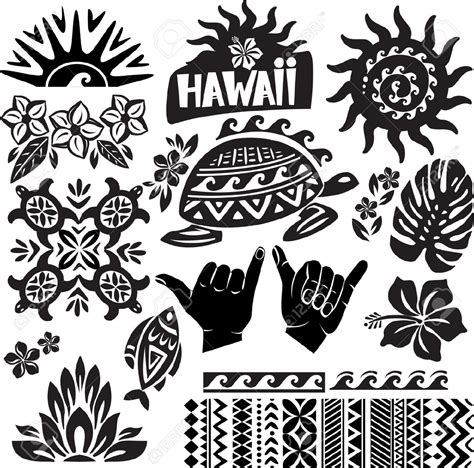 hawaii pattern meaning 17833787 hawaii set in black and white stock vector tribal