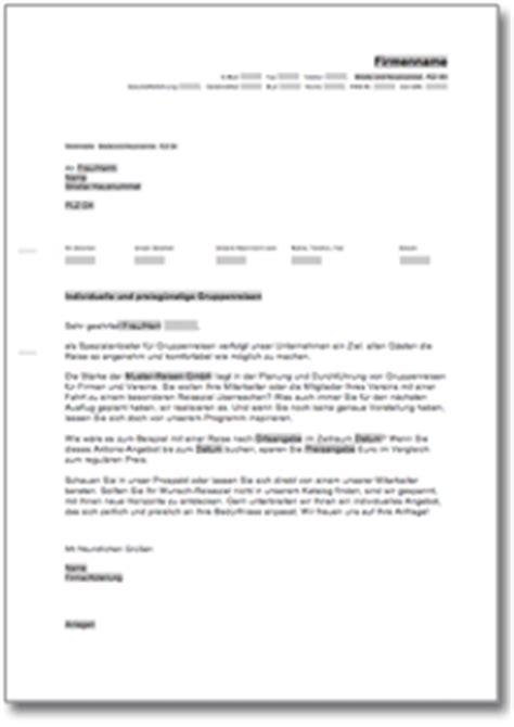 Werbebrief Vorlagen Muster Werbebrief F 252 R Einen Busreiseveranstalter Muster Vorlage Zum