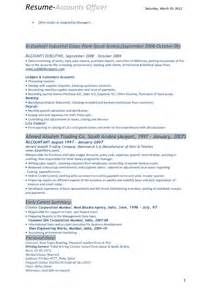 Sample Resume Format For Accounts Officer by Resume Of Accounts Officer