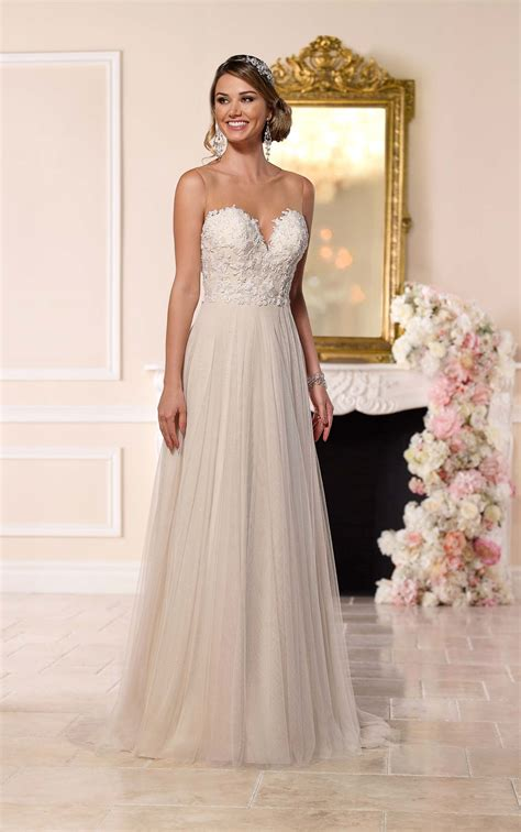 beaded lace french tulle dress stella york wedding dresses
