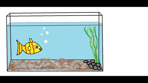 Fish Tank Drawing Easy how to draw a fish aquarium for children nursery rhymes