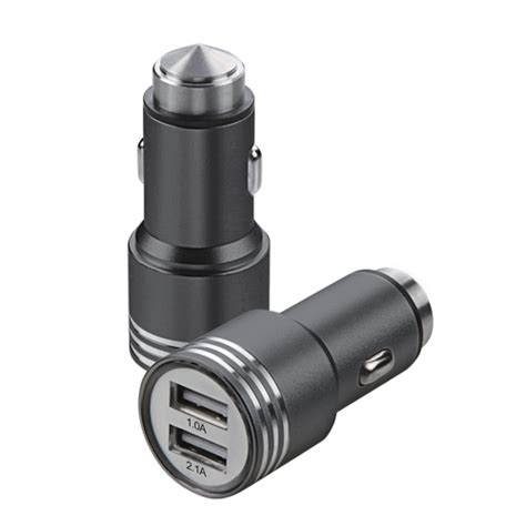 dual usb metal car charger 2 1a fast with emergency safety