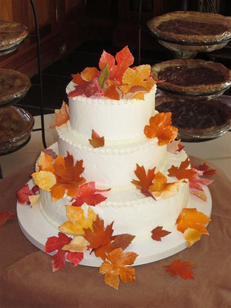 Simple Autumn Wedding Cake by Fondant Fall Leaves Adorn This Simple Wedding Cake In