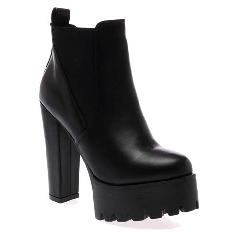 high heel chelsea boot hallie black pu high heel chelsea boots