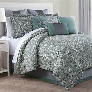 buy clara 9 piece queen comforter set in green grey from