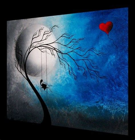 Cat Akrilik Gouache heartache and poetry 72 original tree painting