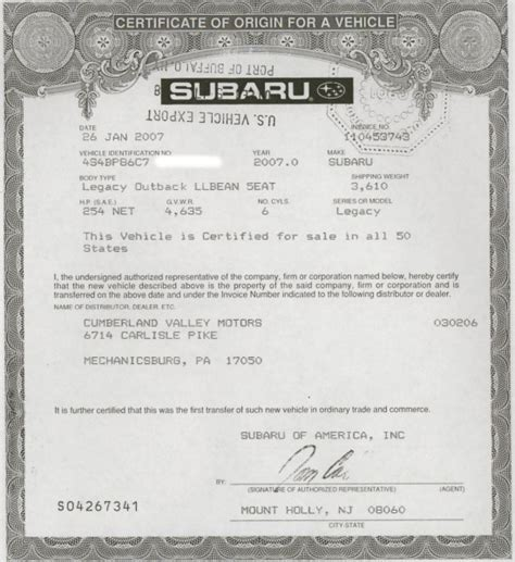 certificate of origin for a vehicle template vehicle manufacturer s certificate of origin